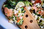 Courgette bake with salmon and broccoli (close-up)