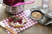 A slice of bread topped with cream cheese, red cabbage, rocket and sesame seeds on a checked breakfast board