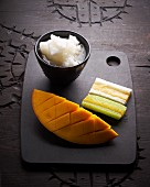 Oriental dessert with mango and sticky rice
