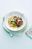 Veal fillet medallions with tagliatelle