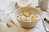 Cauliflower soup with heart-shaped croutons