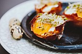 Pastry filled with Parma ham, fried eggs and bean sprouts