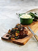 Beef steak with mushroom sauce