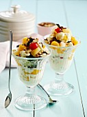 Yogurt with fruit, nuts and grated chocolate