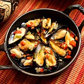 Mejillones y pimientas (mussels with jalapeños, onion, garlic, peppers, wine and olive oil, Spain)