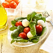 Spinach salad with mozzarella balls, tomatoes and olive oil