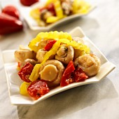 Marinated mushrooms with red and yellow peppers (Spain)