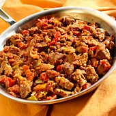 Picadinho (beef with peppers, onions, tomatoes and wine, Brazil)