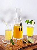 Various types of passion fruit lemonade (ginger, vanilla and lime)