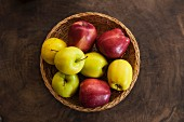 A basket of red and green apples