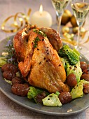 Roast guinea fowl with savoy cabbage and chestnuts for Christmas dinner