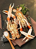 Grilled langoustines with salt and pepper