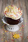 Chocolate Cupcake with Buttercream Icing and Sprinkles