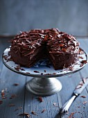 Dark chocolate cream cake with grated chocolate