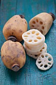 Lotus roots, whole and sliced