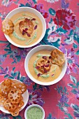 Sweet potato soup with fried lotus root slices