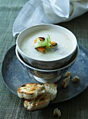 Mussel soup with grilled bread