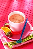 A strawberry and orange smoothie