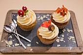 Cupcakes mit Herbstdeko für Thanksgiving