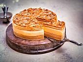 Layered German honey cake, sliced
