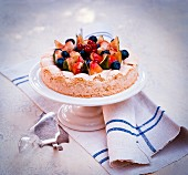 Dacquoise almond tart with almond milk cream, figs and vineyard peaches