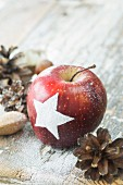 A Christmas apple decorated with a star with pine cones and nuts