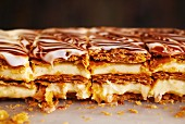 Mille feuilles with light cream and a light and dark chocolate glaze