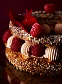 Paris Brest (cream cake with slivered almonds and raspberries)
