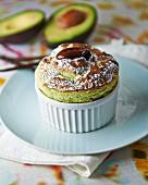 Avocado, pistachio and vanilla soufflé