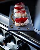 Nigiri sushi with beetroot