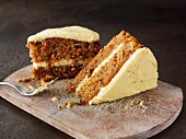 Two slices of carrot cake