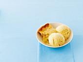 Apple cake with vanilla ice cream