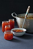 Blood orange marmalade being made