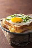 A Croque Madame sandwich