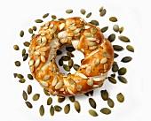 A pumpkin seed bagel