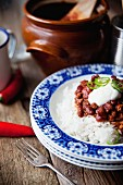 Chilli con carne on a bed of rice