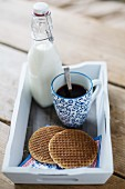 A cup of coffee, syrup waffles and a bottle of milk on a tray