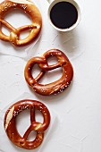 Pretzels and a cup of coffee