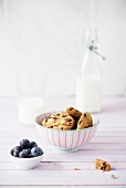 Chocolate chip cookies, blueberries and milk
