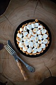 S'more Pie on an Elegant Pedestal Dish on a Christmas Table