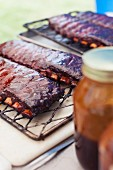 Barbecue spare ribs on a grill rack
