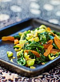 Warm spinach salad with dried apricots