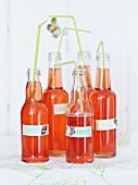 Bottles of homemade strawberry and rosewater lemonade