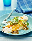 Sweet and sour sole fillets with spring onions