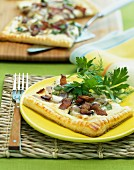 Mushroom tart with bacon