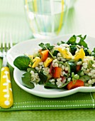 Barley salad with mixed vegetables and watercress