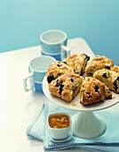 Blueberry scones on a cake stand