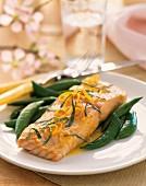 Salmon with mange tout and orange zest