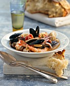 Seafood stew with bread