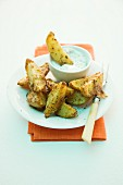 Potato wedges with Parmesan and a dip